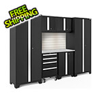 NewAge Garage Cabinets BOLD Series Black 7-Piece Set with Stainless Top, Backsplash, LED Lights