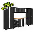 NewAge Garage Cabinets BOLD Series Black 8-Piece Set with Bamboo Top and LED Lights