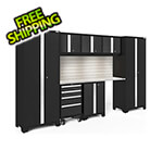 NewAge Garage Cabinets BOLD Series Black 8-Piece Set with Stainless Top, Backsplash, LED Lights