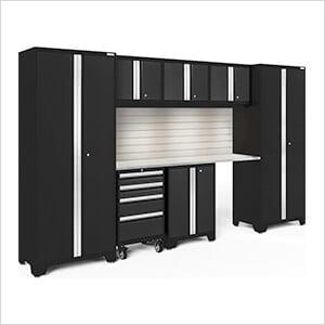 BOLD Series Black 8-Piece Set with Stainless Top, Backsplash, LED Lights