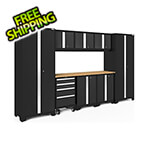 NewAge Garage Cabinets BOLD Series Black 9-Piece Set with Bamboo Top and LED Lights