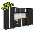 NewAge Garage Cabinets BOLD Series Black 9-Piece Set with Bamboo Top, Backsplash and LED Lights