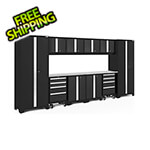 NewAge Garage Cabinets BOLD Series Black 12-Piece Set with Stainless Steel Top