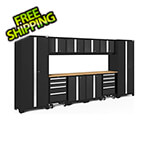 NewAge Garage Cabinets BOLD Series 3.0 Black 12-Piece Set with Bamboo Top and LED Lights