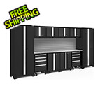 NewAge Garage Cabinets BOLD Series Black 12-Piece Set with Stainless Steel Top and Backsplash