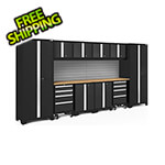 NewAge Garage Cabinets BOLD Series 3.0 Black 12-Piece Set with Bamboo Top and Backsplash