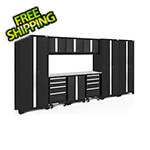 NewAge Garage Cabinets BOLD Series Black 10-Piece Set with Stainless Steel Top and LED Lights