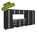 NewAge Garage Cabinets BOLD Series Black 10-Piece Set with Bamboo Top and LED Lights