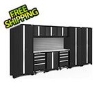 NewAge Garage Cabinets BOLD Series Black 10-Piece Set with Stainless Steel Top and Backsplash