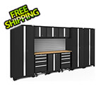 NewAge Garage Cabinets BOLD Series Black 10-Piece Set with Bamboo Top and Backsplash