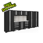 NewAge Garage Cabinets BOLD Series Black 10-Piece Set with Stainless Top, Backsplash, LED Lights