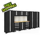 NewAge Garage Cabinets BOLD Series Black 10-Piece Set with Bamboo Top, Backsplash, LED Lights