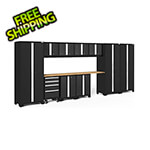 NewAge Garage Cabinets BOLD Series Black 12-Piece Set with Bamboo Top and LED Lights