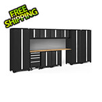NewAge Garage Cabinets BOLD Series Black 12-Piece Set with Bamboo Top and Backsplash