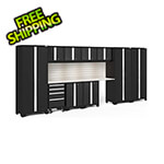 NewAge Garage Cabinets BOLD Series Black 12-Piece Set with Stainless Top, Backsplash, LED Lights