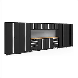 BOLD Series Black 14-Piece Set with Bamboo Top and Backsplash