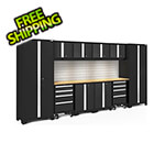 NewAge Garage Cabinets BOLD Series Black 12-Piece Set with Bamboo Top, Backsplash, LED Lights