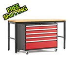 NewAge Garage Cabinets PRO Series 3.0 Red 2-Piece Workbench Set with Bamboo Top