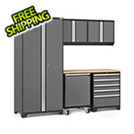 NewAge Garage Cabinets PRO Series 3.0 Grey 6-Piece Set with Bamboo Top