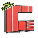 NewAge Garage Cabinets PRO Series 3.0 Red 6-Piece Set with Stainless Steel Top