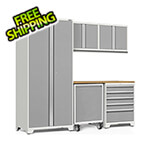 NewAge Garage Cabinets PRO Series 3.0 White 6-Piece Set with Bamboo Top