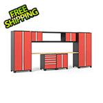 NewAge Garage Cabinets PRO Series 3.0 Red 9-Piece Set with Bamboo Top
