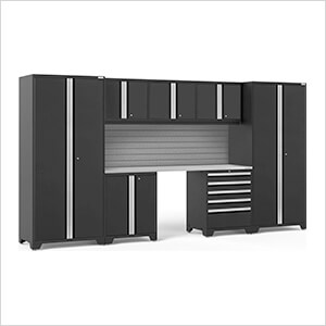 PRO Series 3.0 Black 8-Piece Set with Stainless Steel Top and Slatwall