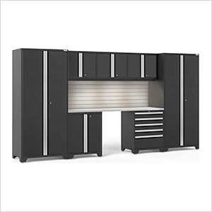 PRO Series 3.0 Black 8-Piece Set with Stainless Steel Top, Slatwall and LED Lights