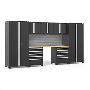 PRO Series 3.0 Black 8-Piece Set with Bamboo Top and Slatwall