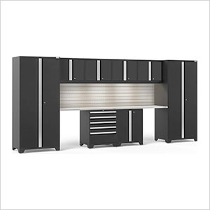 PRO Series 3.0 Black 10-Piece Set with Stainless Top, Slatwall and LED Lights