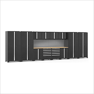 PRO Series 3.0 Black 14-Piece Set with Bamboo Top and Slatwall
