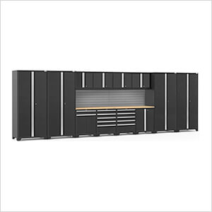 PRO Series 3.0 Black 14-Piece Set with Bamboo Tops and Slatwall