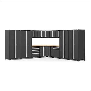 PRO Series 3.0 Black 16-Piece Corner Set with Bamboo Tops
