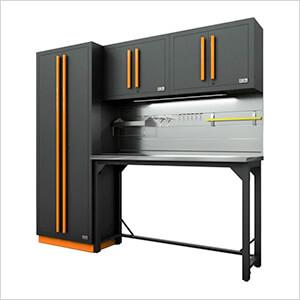 Fusion Pro 5-Piece Garage Workbench System - The Works (Orange)