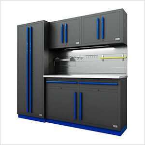 Fusion Pro 5-Piece Garage Cabinet System - The Works (Blue)
