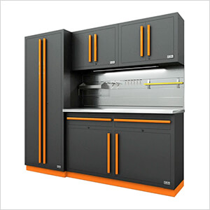 Fusion Pro 5-Piece Garage Cabinet System - The Works (Orange)
