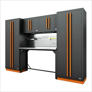 Fusion Pro 6-Piece Garage Workbench System - The Works (Orange)