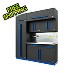 Proslat Fusion Pro 7-Piece Garage Cabinet System - The Works (Blue)