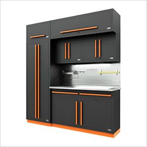 Fusion Pro 7-Piece Garage Cabinet System - The Works (Orange)