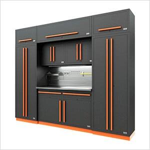 Fusion Pro 9-Piece Garage Cabinet System - The Works (Orange)