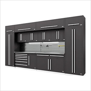 Fusion Pro 14-Piece Garage Cabinet System - The Works (Silver)