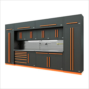 Fusion Pro 14-Piece Garage Cabinet System - The Works (Orange)