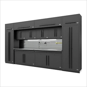 Fusion Pro 14-Piece Garage Cabinet Set - The Works (Black)