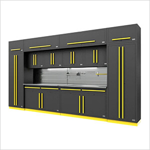Fusion Pro 14-Piece Garage Cabinet Set - The Works (Yellow)