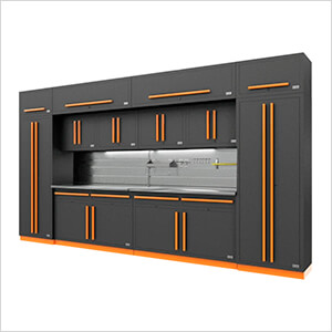 Fusion Pro 14-Piece Garage Cabinet Set - The Works (Orange)