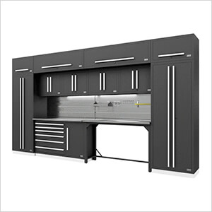 Fusion Pro 14-Piece Garage Cabinetry System - The Works (Silver)