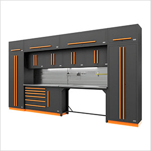 Fusion Pro 14-Piece Garage Cabinetry System - The Works (Orange)