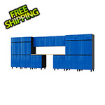 Contur Cabinet 17.5' Premium Santorini Blue Garage Cabinet System with Butcher Block Tops