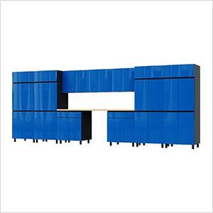 17.5' Premium Santorini Blue Garage Cabinet System with Butcher Block Tops