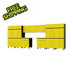 Contur Cabinet 17.5' Premium Vespa Yellow Garage Cabinet System with Butcher Block Tops